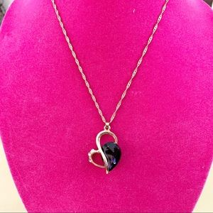 Amethyst Diamond Heart Necklace Gold Chain